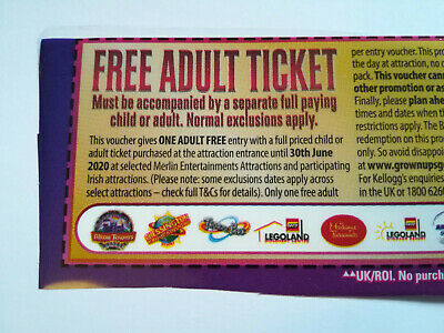 Kellogg's Free Adult Entry Voucher Legoland Alton Towers Thorpe Park Blackpool