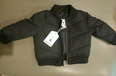 New COUNTRY ROAD Baby Boy Charcoal quilted bomber jacket, coat size 00 /3 - 6m