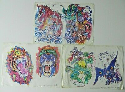 3 vintage tattoo flash sheets RONALD BONKERK 1991 NOT MACHINE