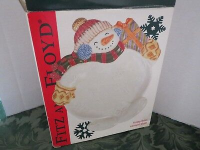 Christmas Snowman Canape Cookie Serving Plate Dish Frosty Folks Fitz & Floyd