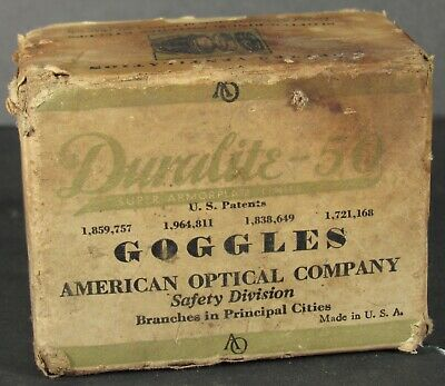 Antique Duralite-50 Safety Goggles American Optical Company Lenses Steampunk