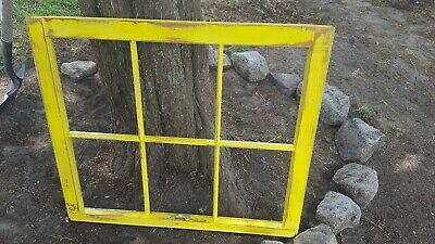 Architectural Salvage ~ 6 PANE OLD WINDOW SASH FRAME PINTEREST DISTRESSED YELLOW