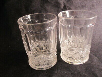Pair Lot of 2 Clear Glass Vintage 8 Oz Juice Drink Glasses,Diamond&Square Design