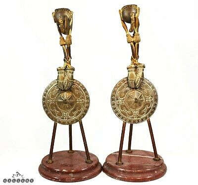 Victorian Gilt Bronze Military Armour / Weapons Lancers Candlesticks c.1880
