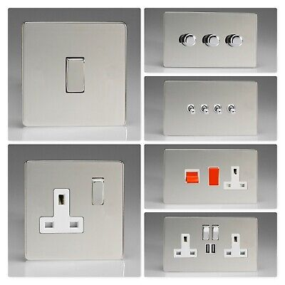 Varilight Screwless Polished Chrome DCW Light Switch Socket Dimmer Toggle Cooker