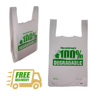 Biodegradable White Carrier Bags - Low Prices Plastic Shopping HT Vest Eco