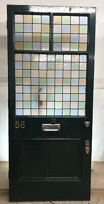 Large Victorian Stained Glass Front Door Reclaimed Old Antique Lead Period.