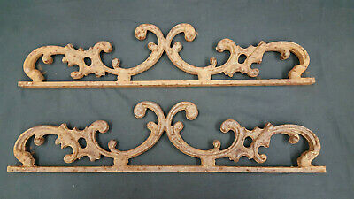 Architectural Salvage Pair of Cast Iron Scroll Swirl Fence or Gate Top Sections