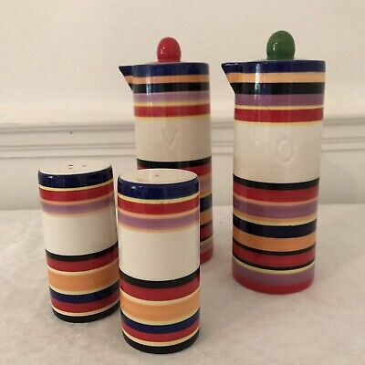 4 Piece Ceramic Multicoloured Stripe Salt Pepper Oil Vinegar Condiment Set