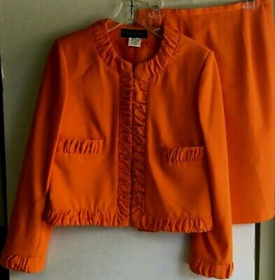 Harve' Bernard by Bernard Haltzman Women's Orange Jacket and Skirt size 10