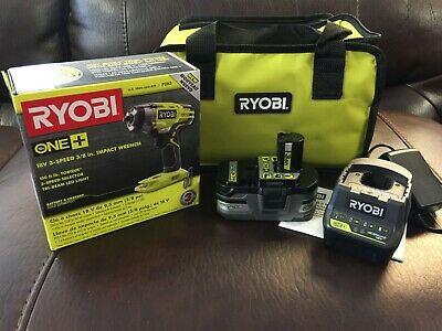 """Ryobi 18v One+ P263 3/8"""" Impact Wrench Set P191 3Ah Battery / Charger & Bag NEW"""
