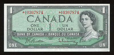 1954 Bank of Canada $1 Replacement Note *A/A0367874 - BC-37bA - Face Value Sale