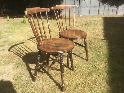 Antique pair 19c Windsor Penny chairs