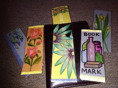 6 x Hand made laminated colorful  book marks approx. 21 cm x 8 cm lot 1