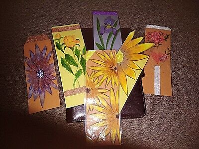 6 x Hand made laminated colorful  book marks approx. 21 cm x 8 cm lot 2