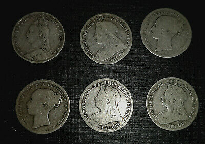 6 Victorian Solid Silver Shilling Coins 1901 1898 1896 1891 1872 1875 Old Royal