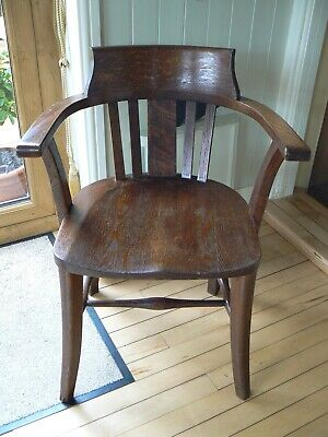 Antique Vintage Heavy Solid Edwardian Oak Captains Bow Carver Office Chair
