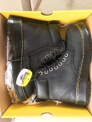 6ddb75850b1 MENS DR MARTENS Industrial Winch St Black Steel Toe Boots Size 9 NEW