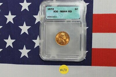1972 Double Die Lincoln Wheat Cent - ICG MS 64 RD - Nice Red BU (X671)