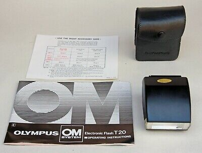 OLYMPUS T20 ELECTRONIC FLASH FOR OM 35mm SERIES FILM CAMERAS  WITH CASE & MANUAL
