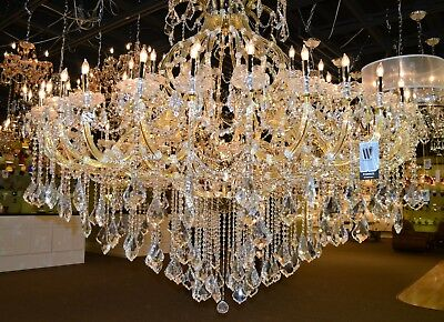 "SALE Maria Theresa 49 Light Gold Crystal Large Tall Two Tier Chandelier 72""x60"""