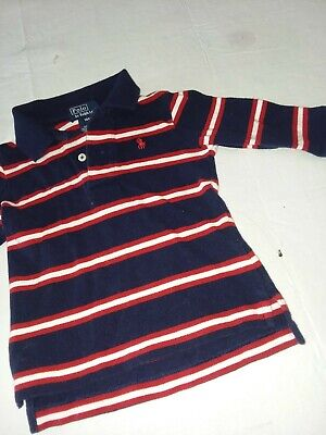 Ralph Lauren polo boys blue striped long-sleeve polo shirt size 12 months