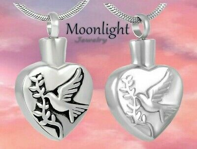 New Dove of Peace Cremation Urn Keepsake Ashes Silver Memorial Necklace