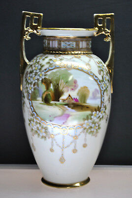 """Antique Late 1800'S Hand Painted Nippon Vase With Gold Gilding 11-1/2"""" Tall"""