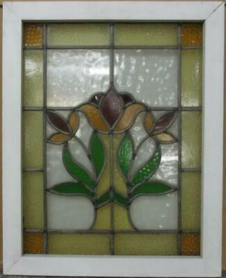 "MIDSIZE OLD ENGLISH LEADED STAINED GLASS WINDOW Bordered Floral 20.5"" x 25.75"""