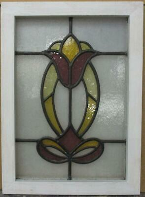 "OLD ENGLISH LEADED STAINED GLASS WINDOW Abstract Floral & Bow 15.75"" x 21.75"""