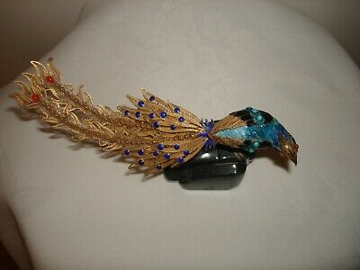 Collectible Beautiful SuHai Sterling Silver Gold Plated ENAMEL BIRD PEACOCK