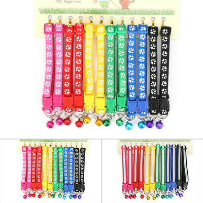 12 PCS Adjustable Dog Collars Pet Cat Puppy Buckle Nylon Collar With Bell