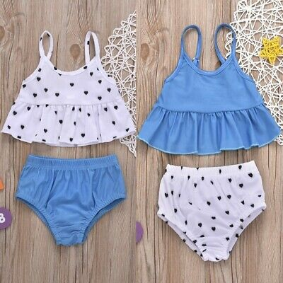 2PCS Toddler Baby Kid Girl Love Print Swimwear Swimsuit Bathing Suit Clothes Set