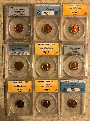 1972 Lincoln Cent Double Die, NO RSV! COMPLETE SET DDO 1-9 PCGS ANACS W/ FS-104!