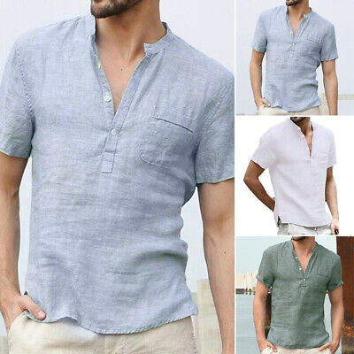 Summer Men V-neck Casual Cotton Linen Blouse Solid Color Breathable Tee T-shirt