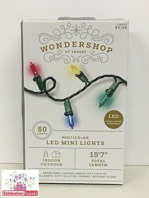 WONDERSHOP 50 LED Mini Lights MULTICOLOR In/Outdoor NEW