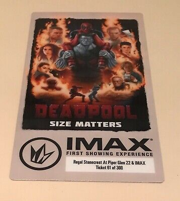 Marvel DEADPOOL 2016 Regal IMAX First Show 61 Of 300 Collectible Movie Ticket