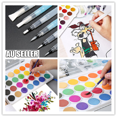 3/6x Artist Ink Water Brush Drawing Pen Set & 36 Colours Water Painting Set Case