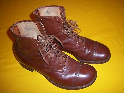 1939 DATED US ARMY USMC LEATHER MARCHING SHOES / BOOTS NEAR MINT ISSUED Sz 8 1/2