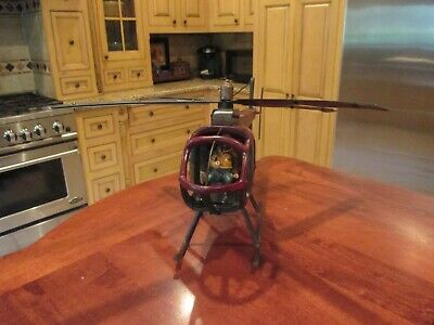 Vintage Very Large Wooden Helicopter Model With Pilot