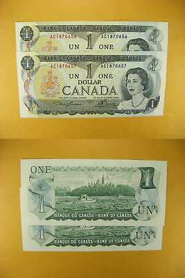 3233 Canada Lot of 2 1973 $1 GemUNC Consecutive
