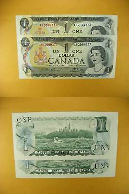 3235 Canada Lot of 2 1973 $1 GemUNC Consecutive
