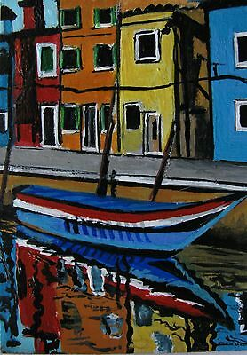 """A418  Original Acrylic Aceo Painting By Ljh  - .""""Venice'"""