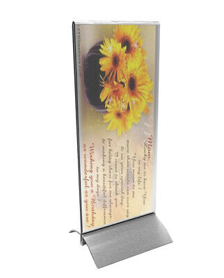 4 x 9 Acrylic Sign Holder with Aluminum Base, Double-sided, Bottom Insert - Clea