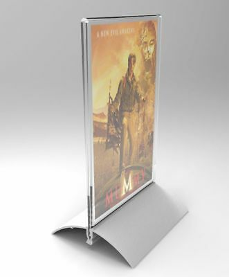 4 x 6 Acrylic Sign Holder with Aluminum Base, Double-sided, Bottom Insert - Clea