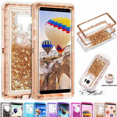 360° Liquid Glitter Bling Heavy Duty Case For Samsung Galaxy S7 S8 S9 Note 8 9