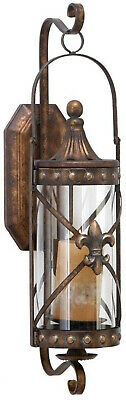 Candle Sconce Burnished Bronze Iron Glass Rustic Vintage Lantern Wall Decor