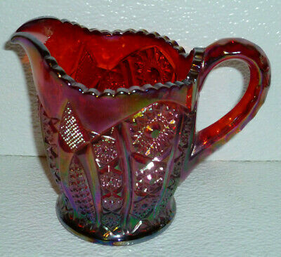 Indiana Creamer Sunset Red Carnival Glass Paneled Daisy Vtg Iridescent 4.75""