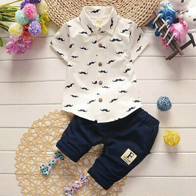 2PC Summer Toddler Baby Kids Boy Shirts Tops+Pants Gentleman Outfits Clothes Set