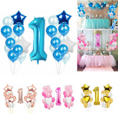 Happy 1st Birthday First Number 1 Baby Boy Girl Party Decoration Balloons Banner
